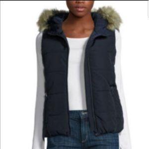 Liz Claiborne Navy Zip Faux Fur Hooded Puffer Vest